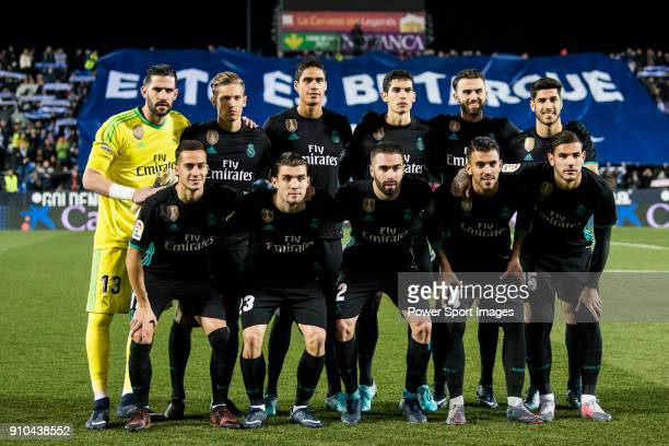 Players of Real Madrid line up and pose for a photo prior to the Copa del Rey 201718 match between CD Leganes and Real Madrid at Estadio Municipal...