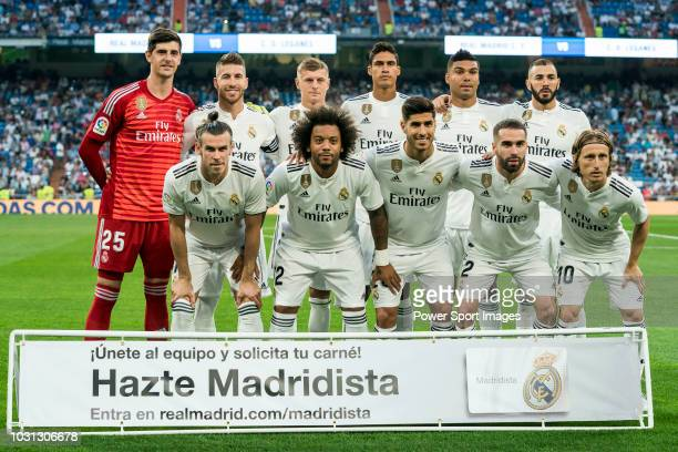 Players of Real Madrid line up and pose for a photo prior to the La Liga match between Real Madrid CF and CD Leganes at Estadio Santiago Bernabeu on...