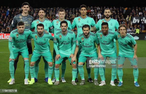 Players of Real Madrid line up before the Liga match between Valencia CF and Real Madrid CF at Estadio Mestalla on December 15, 2019 in Valencia,...