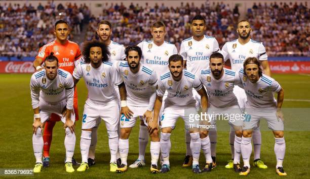 Players of Real Madrid line up during the La Liga match between Deportivo La Coruna and Real Madrid at Riazor Stadium on August 20 2017 in La Coruna...