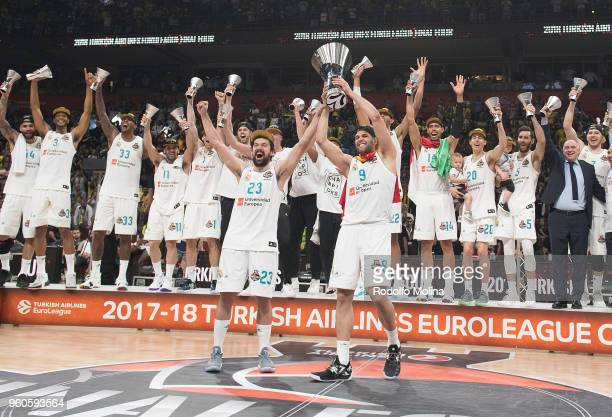Players of Real Madrid new Champion poses after the 2018 Turkish Airlines EuroLeague F4 Championship Game between Real Madrid v Fenerbahce Dogus...