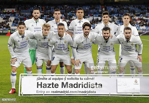 Players of Real Madrid pose before the Copa del Rey round of 32 second leg match between Real Madrid CF and Cultural y Deportiva Leonesa at Estadio...