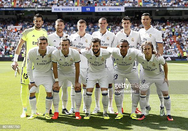 Players of Real Madrid pose before the La Liga match between Real Madrid CF and CA Osasuna at Estadio Santiago Bernabeu on September 10 2016 in...