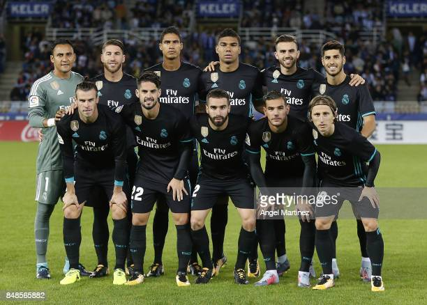 Players of Real Madrid pose before the La Liga match between Real Sociedad and Real Madrid CF at Anoeta Stadium on September 17 2017 in San Sebastian...