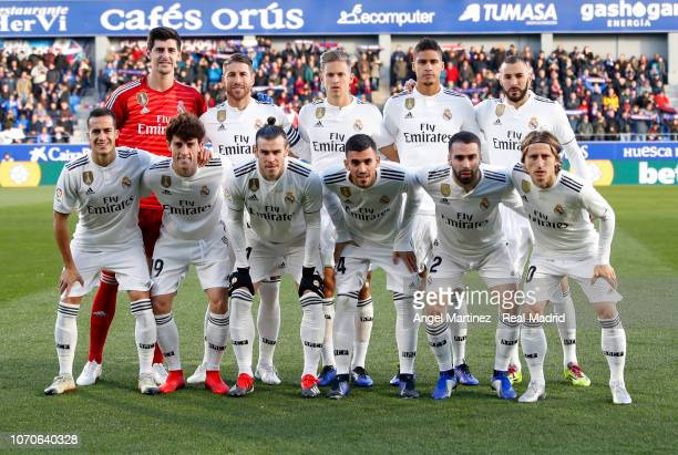 Players of Real Madrid pose before the La Liga match between SD Huesca and Real Madrid CF at Estadio El Alcoraz on December 9 2018 in Huesca Spain
