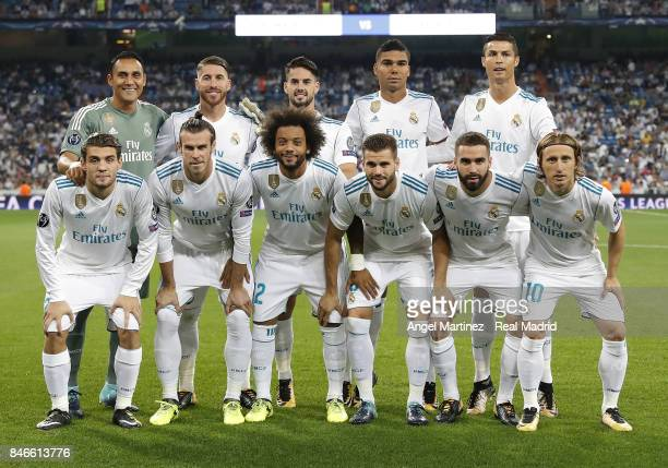 Players of Real Madrid pose before the UEFA Champions League group H match between Real Madrid CF and APOEL Nikosia at Estadio Santiago Bernabeu on...