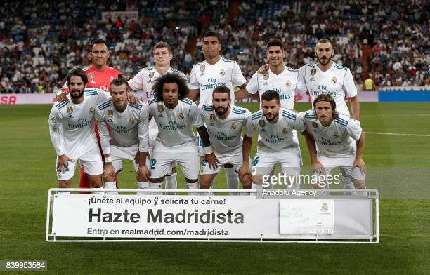 Players of Real Madrid pose for a photo ahead of the La Liga soccer match between Real Madrid and Valencia at Santiago Bernabeu in Madrid Spain on...