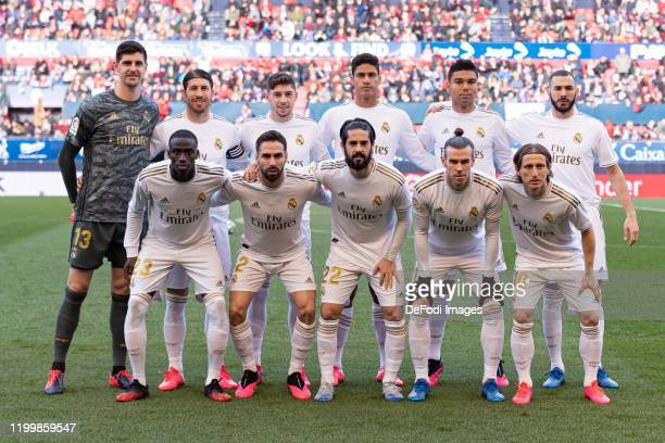 Players of Real Madrid pose for a team photo during the Liga match between CA Osasuna and Real Madrid CF at El Sadar Stadium on February 09, 2020 in...