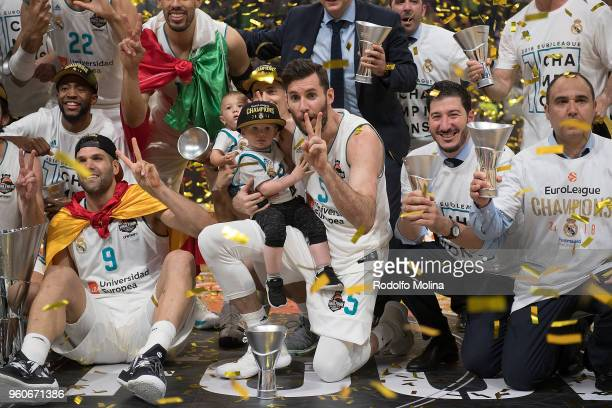 Players of Real Madrid poses with Champion Trophy after the 2018 Turkish Airlines EuroLeague F4 Championship Game between Real Madrid v Fenerbahce...