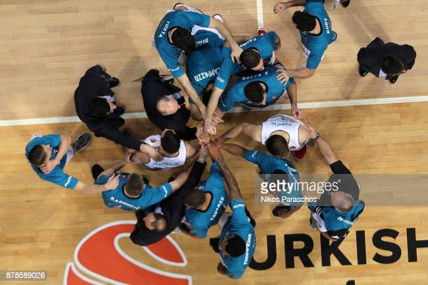 Players of Real Madrid react during a timeout during the 2017/2018 Turkish Airlines EuroLeague Regular Season Round 9 game between Panathinaikos...