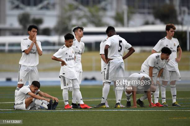 Players of Real Madrid react during the penalty shoot out in the U16 Kirin Lemon Cup final between Real Madrid and FC Tokyo at Yanagishima Sports...