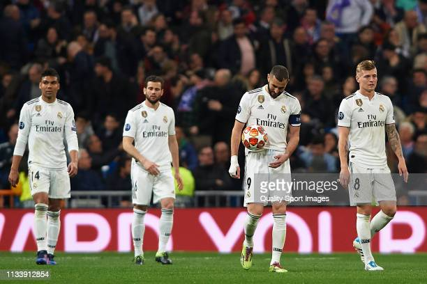Players of Real Madrid react during the UEFA Champions League Round of 16 Second Leg match between Real Madrid and Ajax at Bernabeu on March 05 2019...