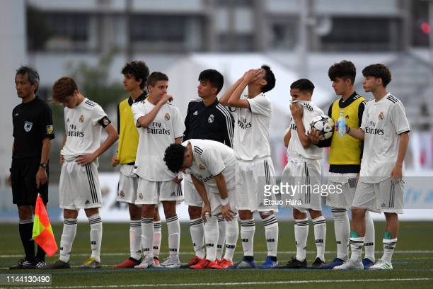 Players of Real Madrid show dejection after the U16 Kirin Lemon Cup final between Real Madrid and FC Tokyo at Yanagishima Sports Park on April 21,...