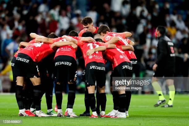 Players of Real Mallorca during the La Liga Santander match between Real Madrid v Real Mallorca at the Estadio Santiago Bernabeu on September 22,...