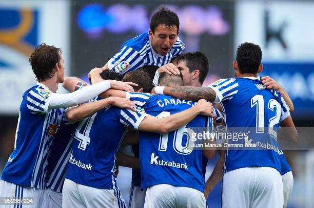 Players of Real Sociedad celebrates a own goal of Mikel San Jose of Athletic Club during the La Liga match between Real Sociedad and Athletic Club at...