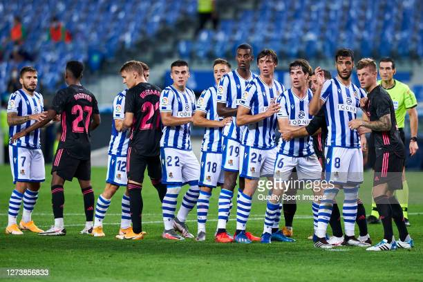 Players of Real Sociedad in a corner formation during the La Liga Santader match between Real Sociedad and Real Madrid at Estadio Anoeta on September...