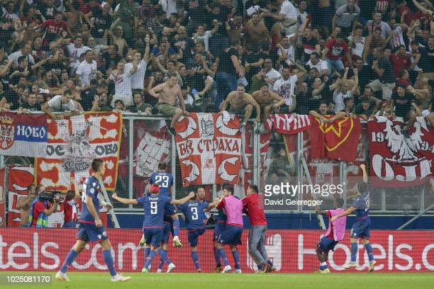 Players of Red Star Belgrade celebrate their second goal with fans during the UEFA Champions League match between FC Salzburg and Red Star Belgrade...