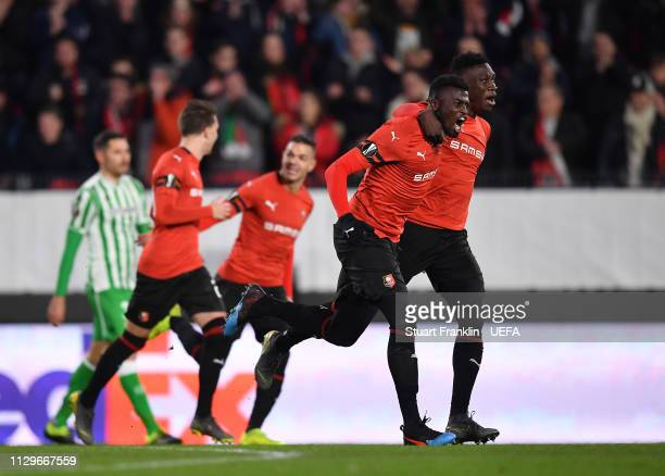 Players of Rennes celebrate the second goal during the UEFA Europa League Round of 32 First Leg match between Stade Rennais and Real Betis at Roazhon...