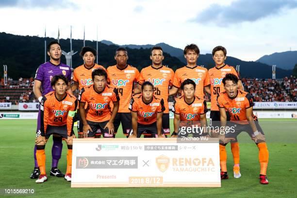 Players of Renofa Yamaguchi line up for team photos prior to the JLeague J2 match Renofa Yamaguchi and Tokushima Vortis at Ishin MeLife Stadium on...