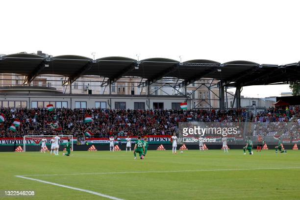 Players of Republic of Ireland take a knee in support of the Black Lives Matter movement prior to the international friendly match between Hungary...