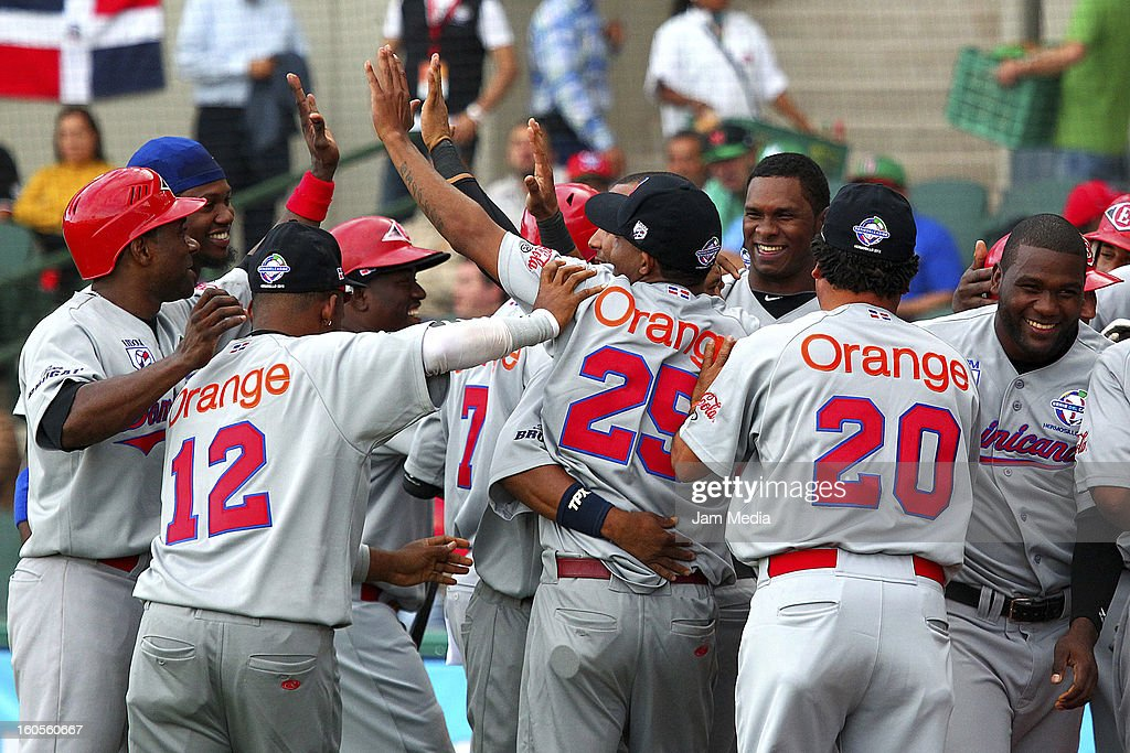 Players of Republica Dominicana celebrates during the Caribbean Series Baseball 2013 in Sonora Stadium on february 2, 2013 in Hermosillo, Mexico.
