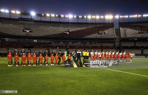 Players of River Plate and Alianza Lima line up before a group A match between River Plate and Alianza Lima as part of Copa CONMEBOL Libertadores...