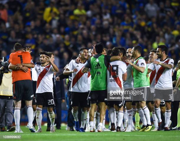 Players of River Plate celebrate after winning a match between Boca Juniors and River Plate as part of Superliga 2018/19 at Estadio Alberto J Armando...
