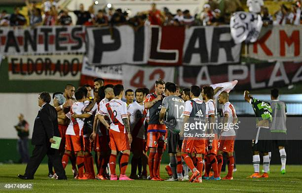 Players of River Plate celebrate qualifying to semi finals after a second leg match between Chapecoense and River Plate as part of Quarter Finals of...