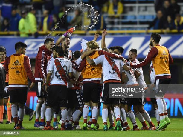 Players of River Plate celebrate their victory 3 0 at the end of a match between Boca Juniors and River Plate as part of Torneo Primera Division...