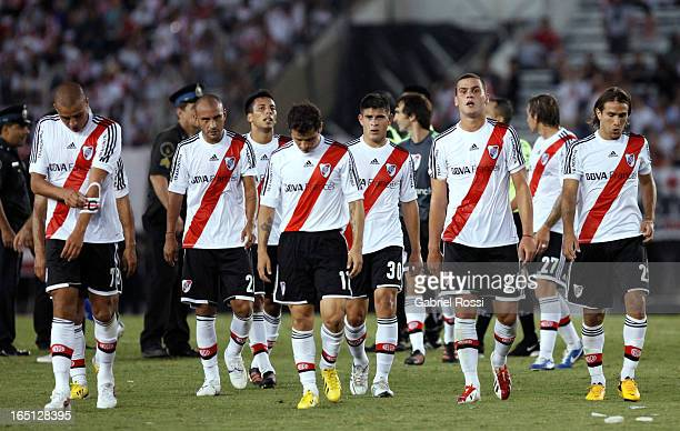 Players of River Plate during a match between River Plate and Velez Sarsfield as part of Torneo Final 2013 at Antonio Vespucio Liberti Stadium on...