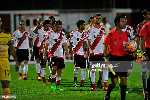 Players of River Plate enter to the pitch during a group stage match between Trujillanos and River Plate as part of Copa Bridgestone Libertadores...