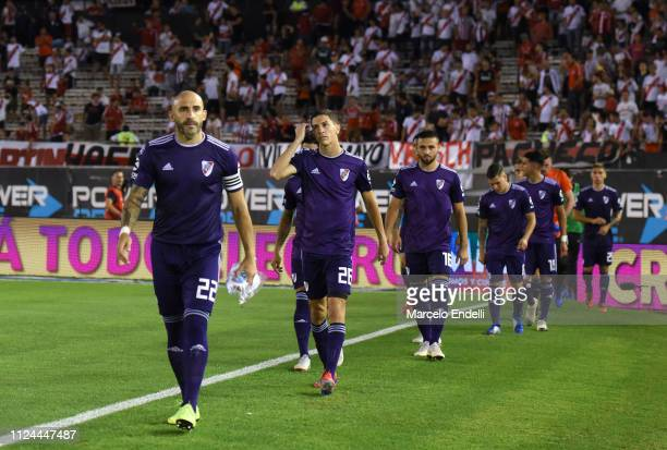 Players of River Plate gets into the pitch before a match between River Plate and Union as part of Round 12 of Superliga 2018/19 at Estadio...