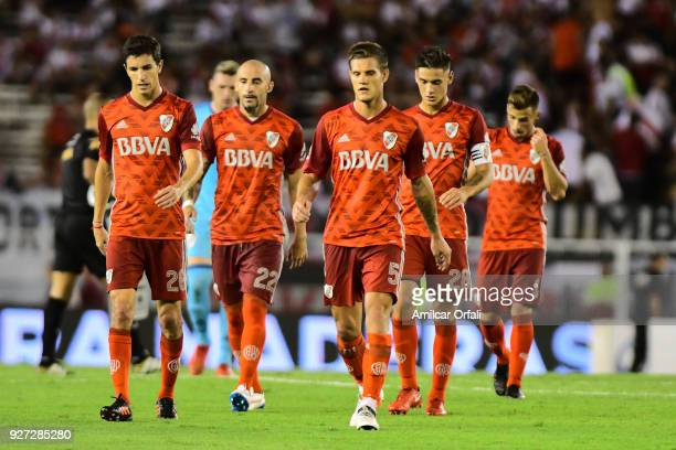 Players of River Plate leave the field after a match between River Plate and Chacarita as part of Superliga 2017/18 at Estadio Monumental Antonio...