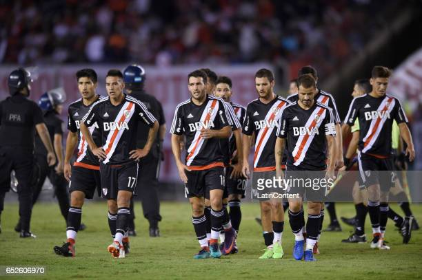 Players of River Plate leave the field at the end of the first half during a match between River Plate and Union as part of Torneo Primera Division...