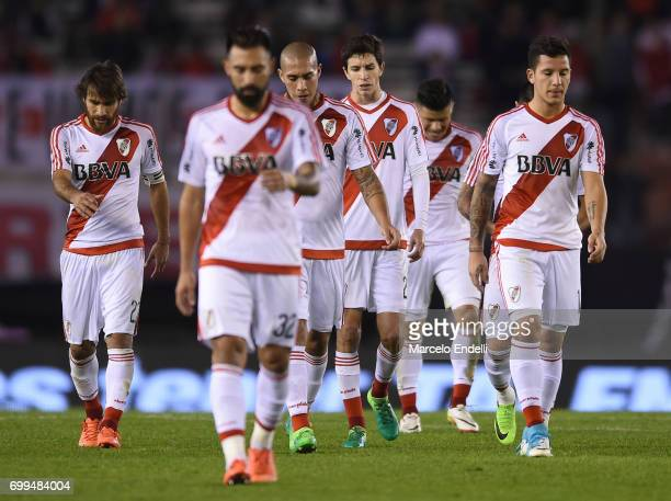 Players of River Plate leave the field at the end of the first half during a match between River Plate and Aldosivi as part of Torneo Primera...