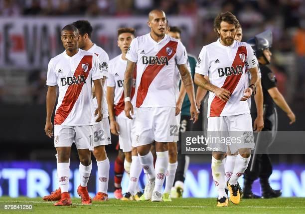 Players of River Plate leave the field at the end of the first half during a match between River and Newell's Old Boys as part of Superliga 2017/18...