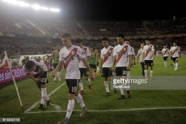Players of River Plate leave the field at the end of the first half during a match between River Plate and Olimpo as part of Superliga 2017/18 at...