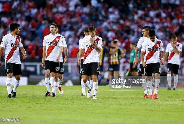 Players of River Plate leave the field at the end of the first half during a match between River Plate and Rosario Central as part of Superliga...