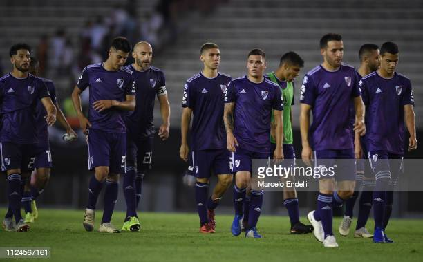 Players of River Plate leave the pitch after losing a match between River Plate and Union as part of Round 12 of Superliga 2018/19 at Estadio...