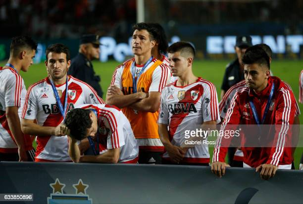 Players of River Plate look dejected after finish the match between River Plate and Lanus as part of Supercopa Argentina 2017 at Ciudad de La Plata...