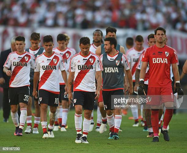 Players of River Plate look dejected after loosing the match between River Plate and Boca Juniors as part of Torneo Primera Division 2016/17 at...