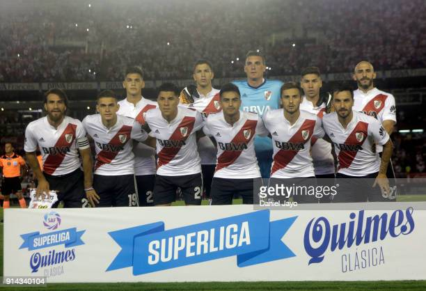 Players of River Plate pose before a match between River Plate and Olimpo as part of Superliga 2017/18 at Estadio Monumental Antonio Vespucio Liberti...