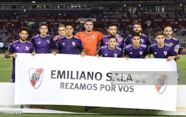 Players of River Plate pose for a photo prior a match between River Plate and Union as part of Round 12 of Superliga 2018/19 at Estadio Monumental...