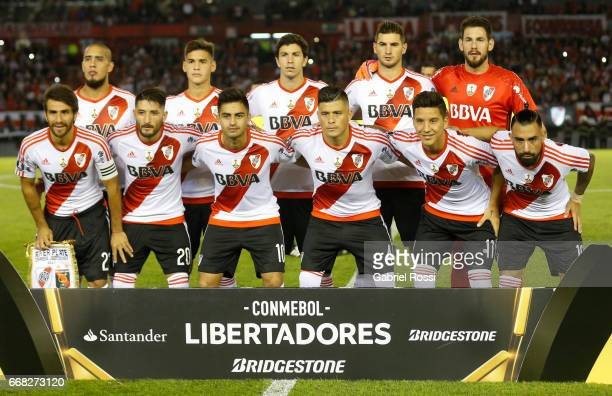 Players of River Plate pose for a photo prior the match between River Plate and FBC Melgar as part of Copa Conmebol Libertadores Bridgestone 2017 at...