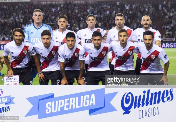 Players of River Plate pose for a photo prior to a match between Lanus and River Plate as part of the Superliga 2017/18 at Ciudad de Lanus Stadium on...