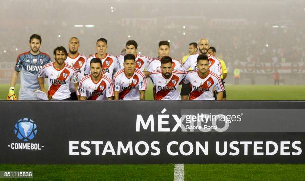 Players of River Plate pose for a photo prior to the second leg match between River Plate and Wilstermann as part of the quarter finals of Copa...