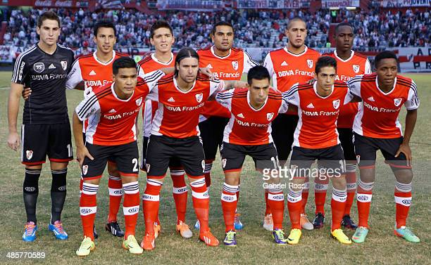 Players of River Plate pose for a team photo before a match between River Plate and Velez Sarsfield as part of 15th round of Torneo Final 2014 at...