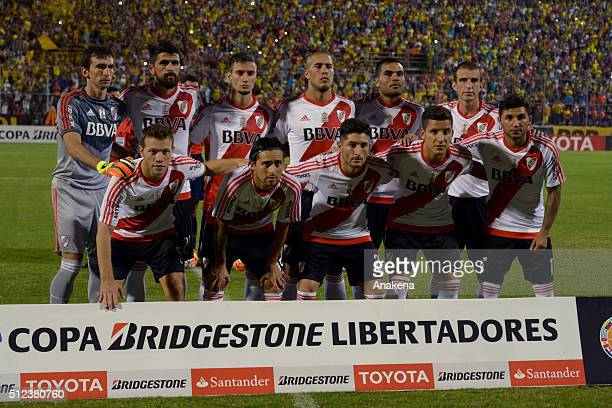 Players of River Plate pose for a team photo prior to a group stage match between Trujillanos and River Plate as part of Copa Bridgestone...
