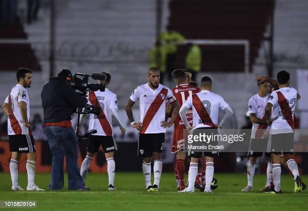 Players of River Plate react after a match between Huracan and River Plate as part of Superliga Argentina 2018/19 at Estadio Tomas Adolfo Duco on...
