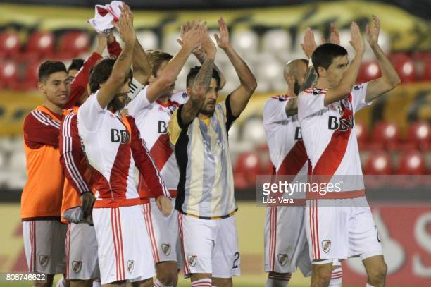 Players of River Plate show gratitude to the fans after a first leg match between Guarani and River Plate as part of round of 16 of Copa CONMEBOL...